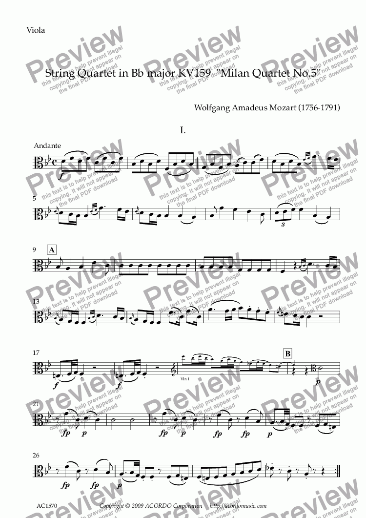 "page one of the Viola part from String Quartet in Bb major KV159  ""Milan Quartet No.5"""