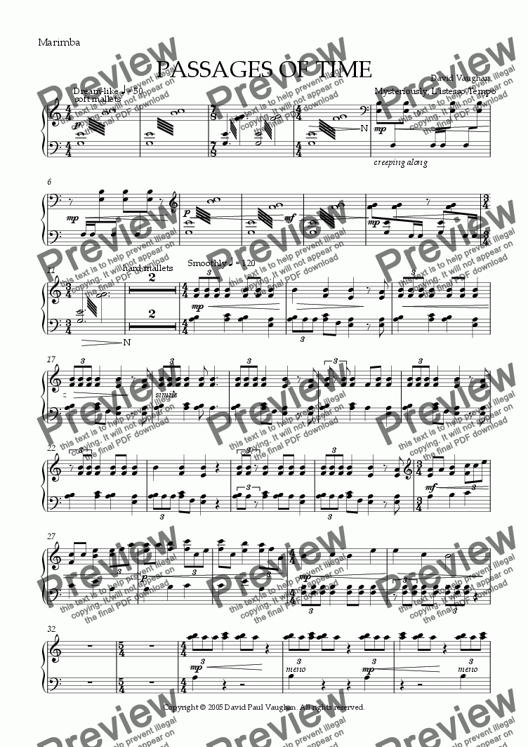 page one of the Marimba part from Passages of Time