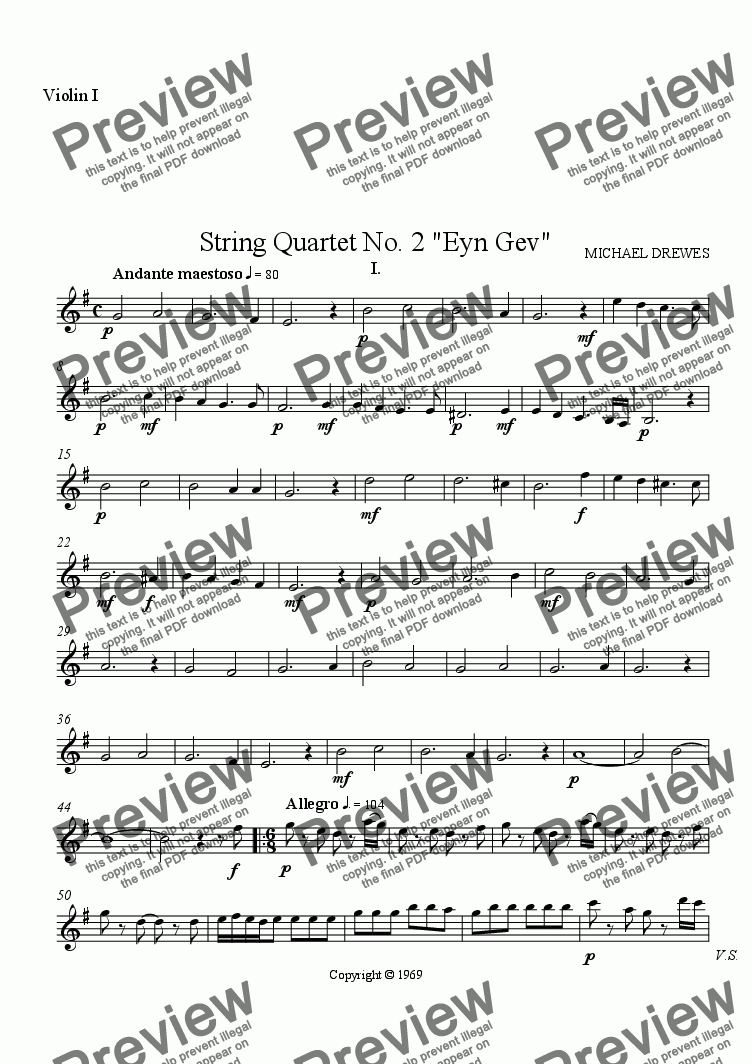 "page one of the Violin I part from String Quartet No. 2 ""Eyn Gev"", Complete Score"