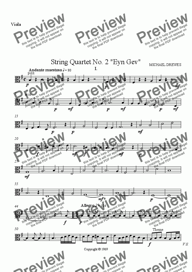 "page one of the Viola part from String Quartet No. 2 ""Eyn Gev"", Complete Score"