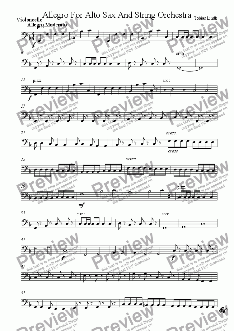 page one of the Violoncello part from Allegro For Alto Sax And String Orchestra