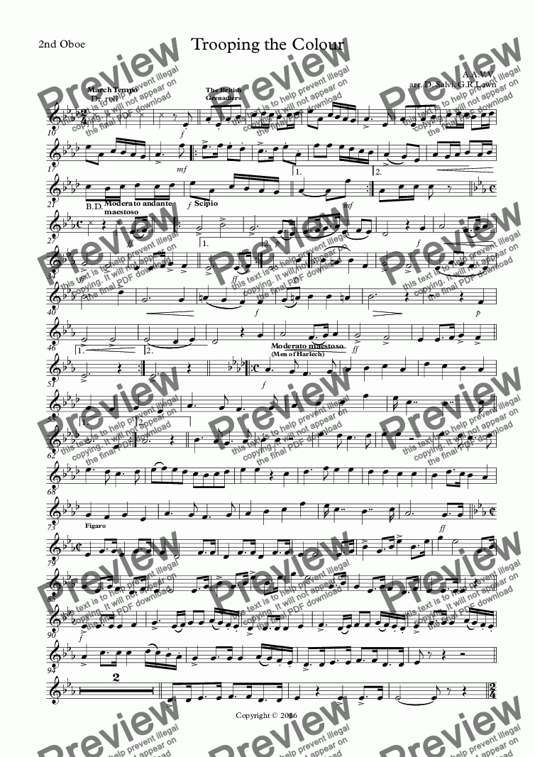 page one of the 2nd Oboe part from Trooping the Colour