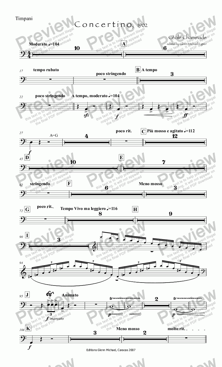 page one of the Timpani part from Chaminade, Concertino flute & orq
