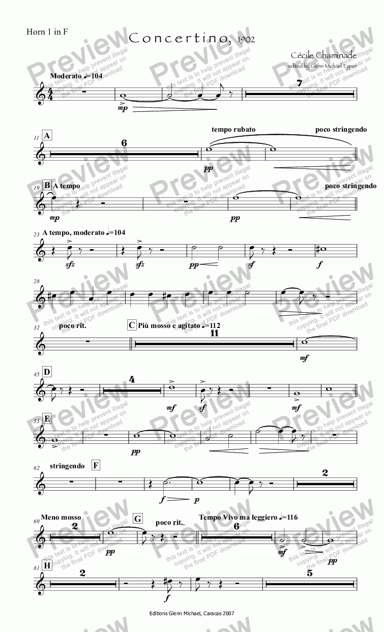 page one of the Horn 1 in F part from Chaminade, Concertino flute & orq