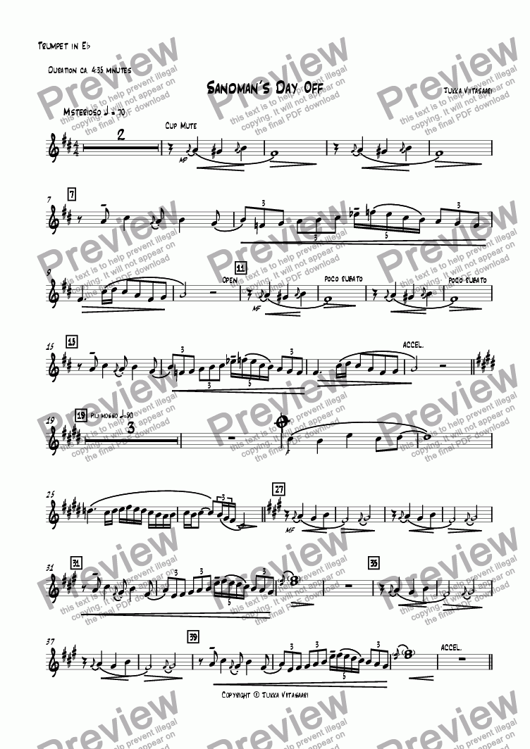 page one of the Trumpet in Eb part from Sandman´s Day Off (for Trumpet & Guitar)