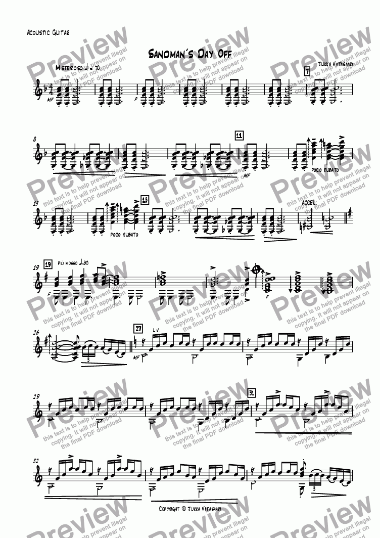 page one of the Guitar part from Sandman´s Day Off (for Trumpet & Guitar)