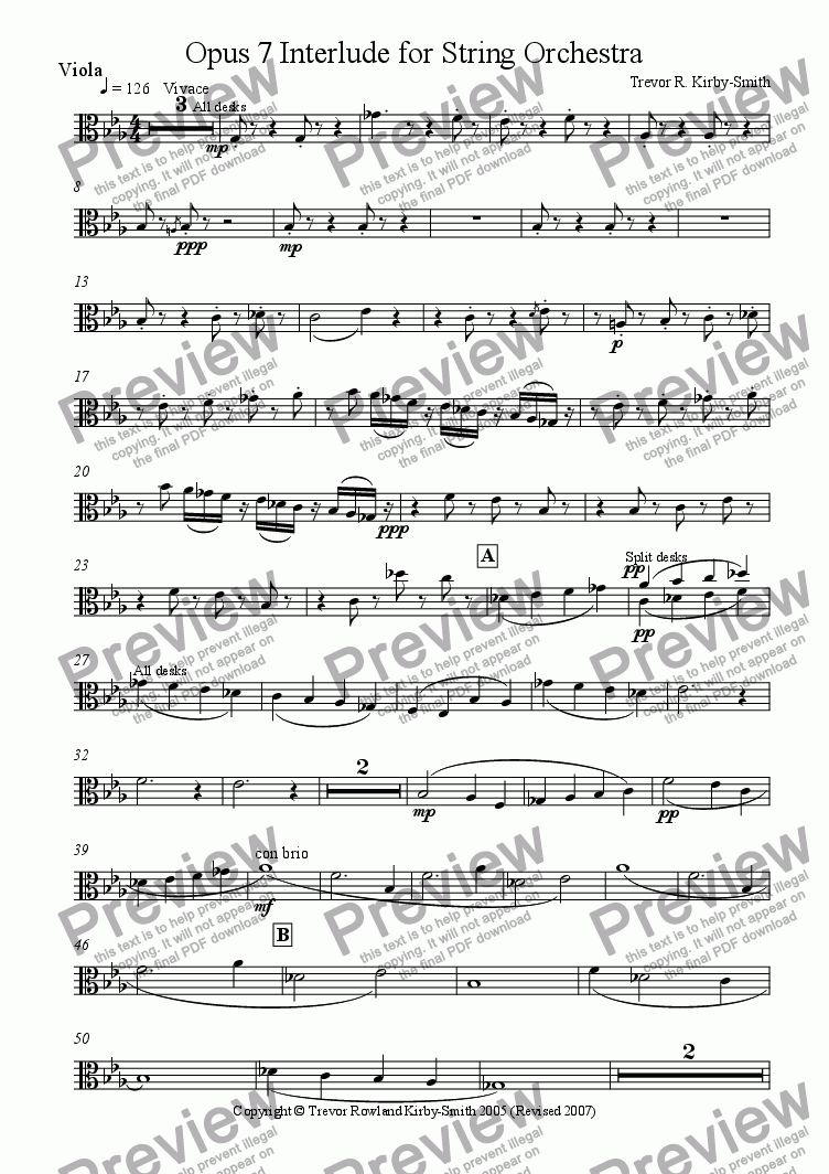 page one of the Violas part from Opus 7 Interlude for String Orchestra