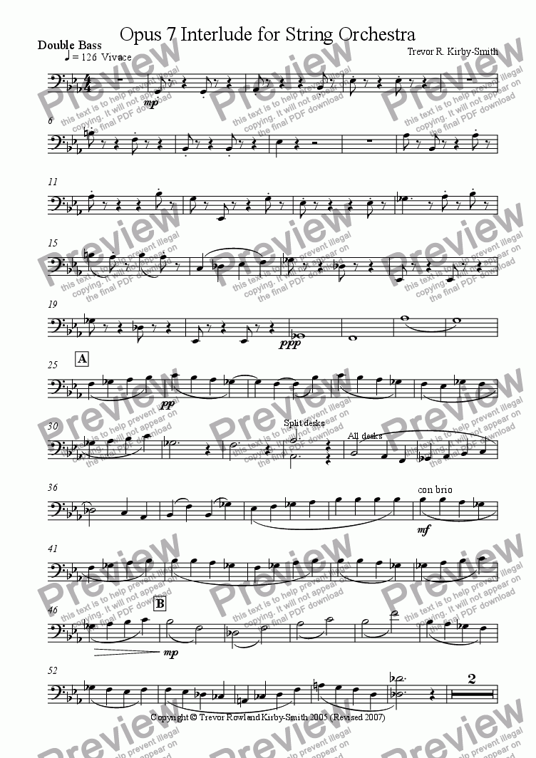 page one of the Double Bass part from Opus 7 Interlude for String Orchestra