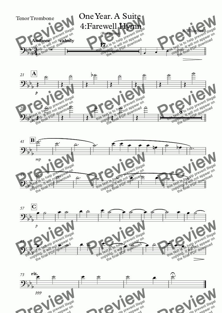 page one of the Tenor Trombone part from Farewell Hymn (band)