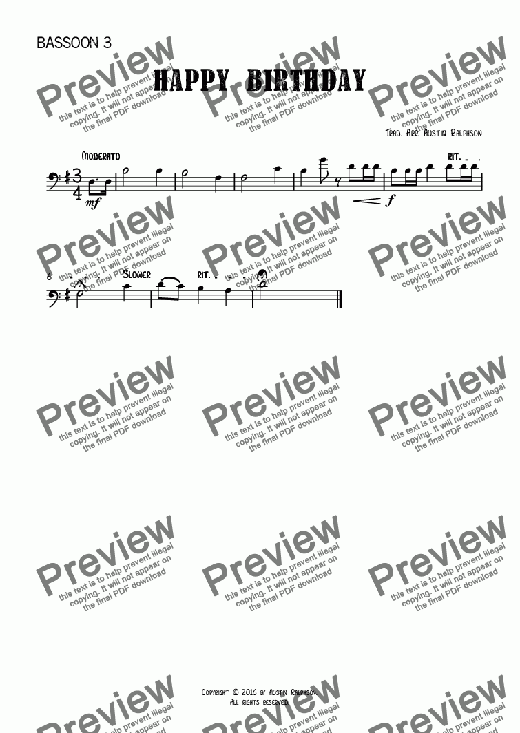 page one of the Bassoon 3 part from Happy Birthday - bassoon quartet
