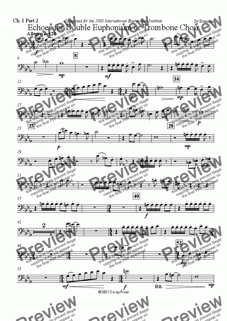 page one of the Choir 1 Part 2 part from Echoes for Double Euphonium or Trombone Choir