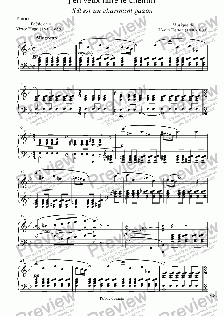 page one of the Piano part from J'en veux faire le chemin (Henri Ketten / Victor Hugo)