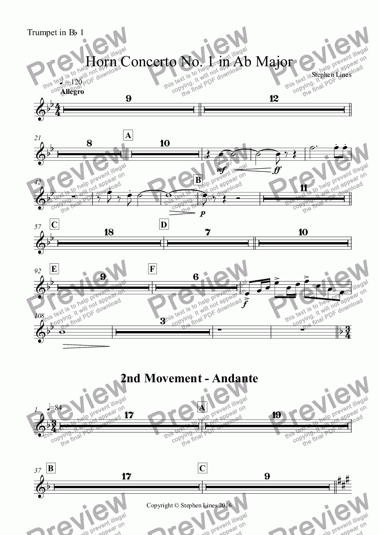 page one of the Trumpet in B^b 1 part from Horn Concerto No. 1 in Ab Major