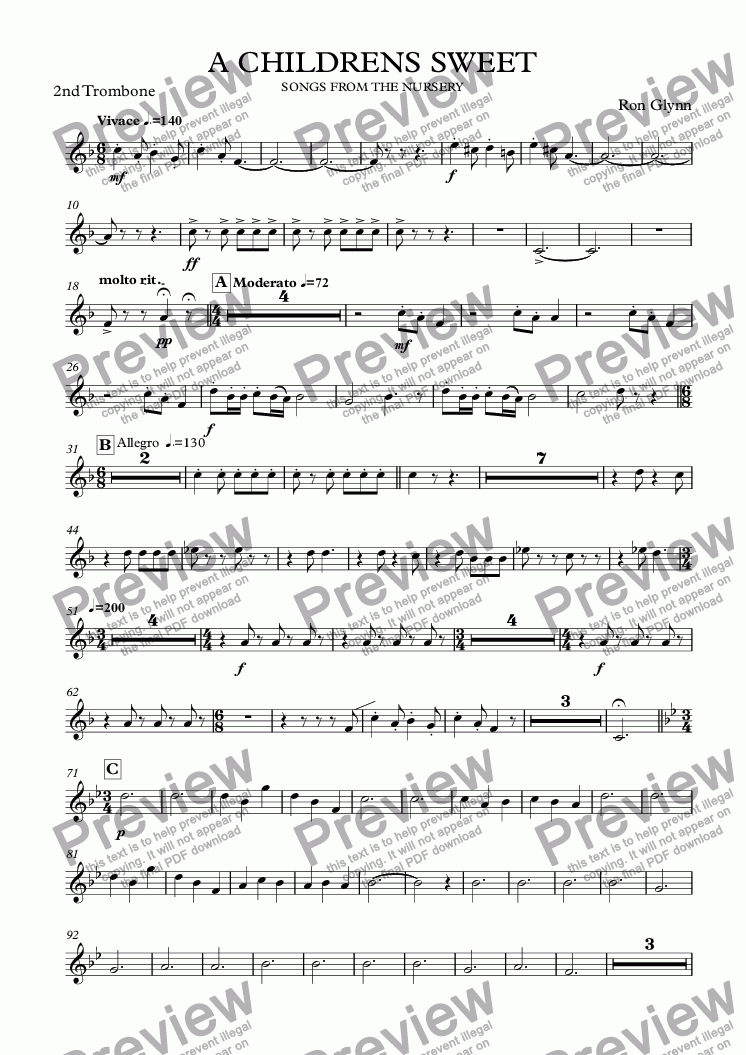page one of the 2nd Trombone part from A CHILDRENS SWEET
