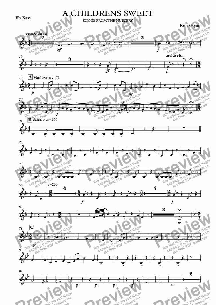 page one of the Bb Bass part from A CHILDRENS SWEET
