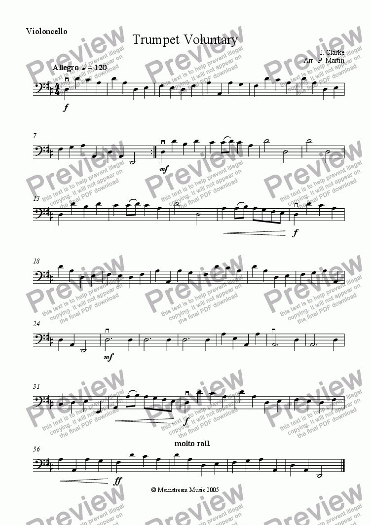 page one of the Cello part from Trumpet Voluntary