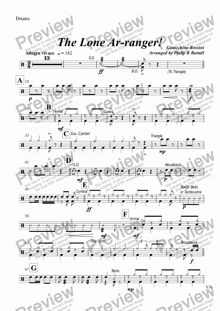 page one of the Drums part from The Lone Ar-ranger! (Brass Band)