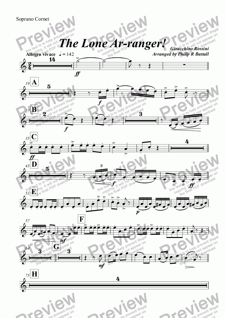 page one of the Soprano Cornet part from The Lone Ar-ranger! (Brass Band)