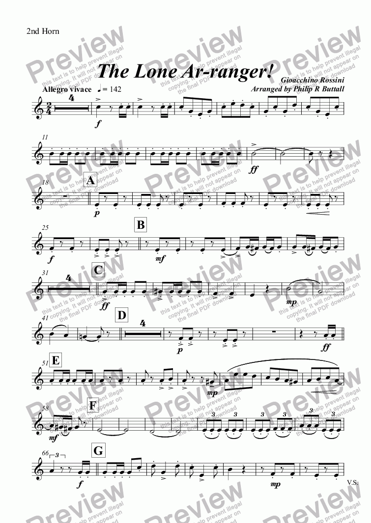 page one of the 2nd Horn part from The Lone Ar-ranger! (Brass Band)