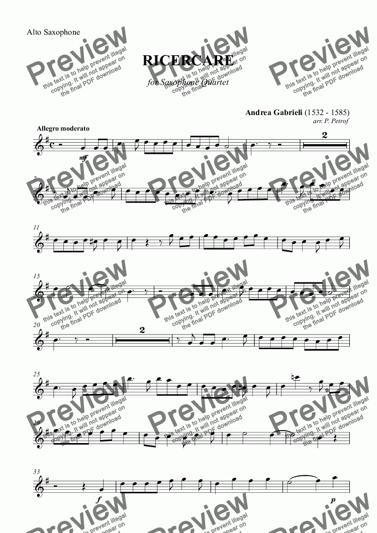 page one of the Alto Saxophone part from A. Gabrieli - RICERCARE for saxophone quartet