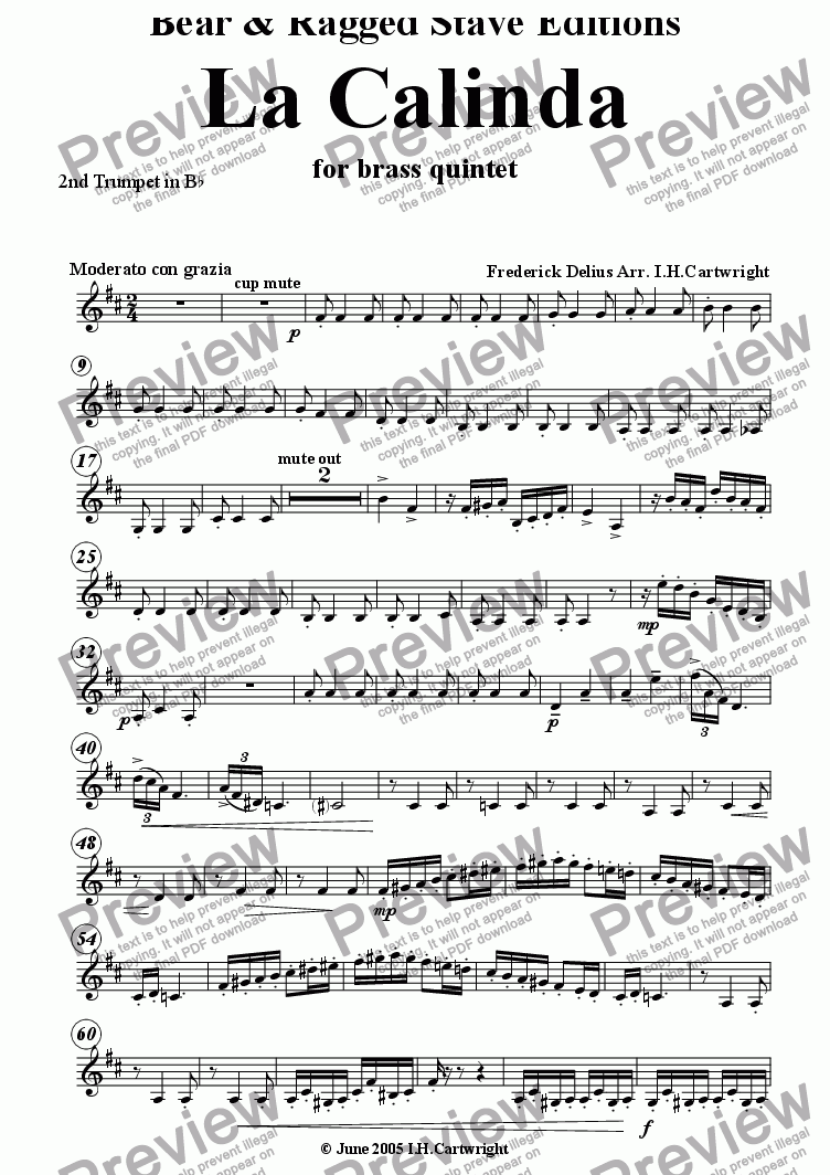 page one of the 2nd Bb trumpet part from La Calinda for brass quintet