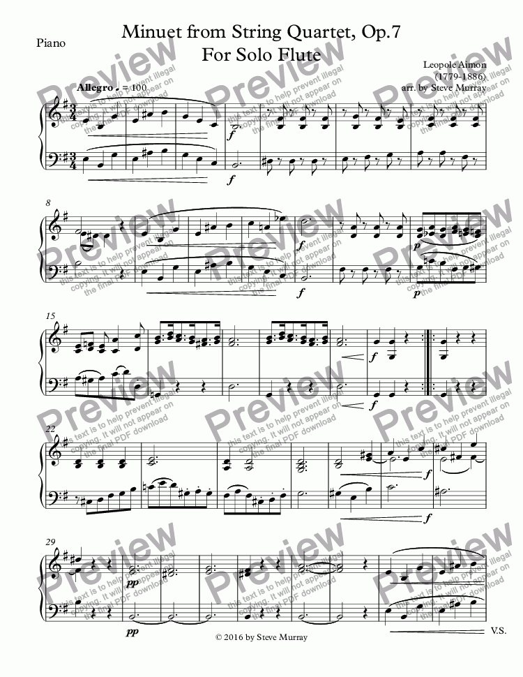 page one of the Piano part from Minuet from String Quartet, Op.7 For Solo Flute