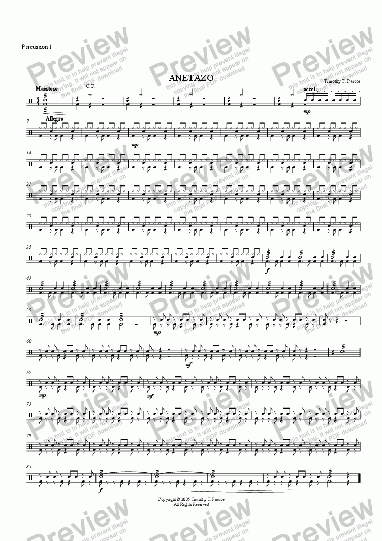 page one of the Percussion part from Anetazo (Brass Band)