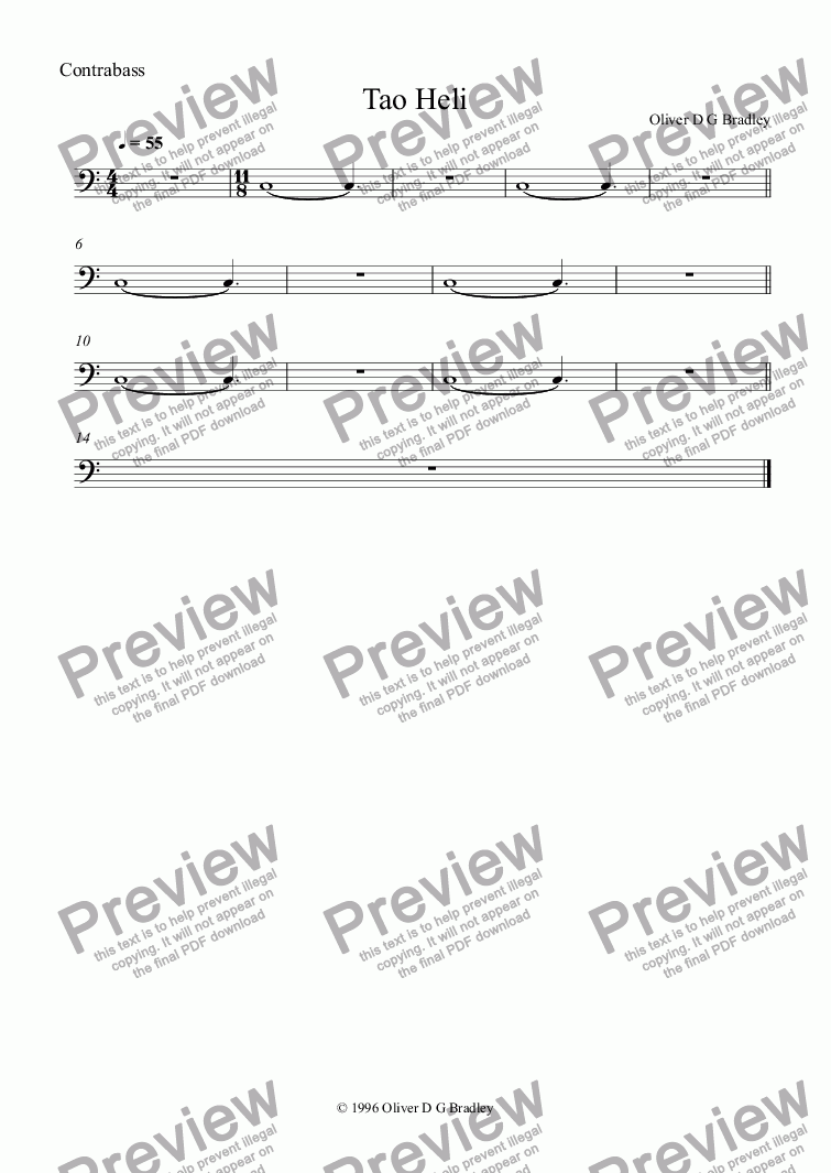 page one of the Contrabass part from Tao Heli