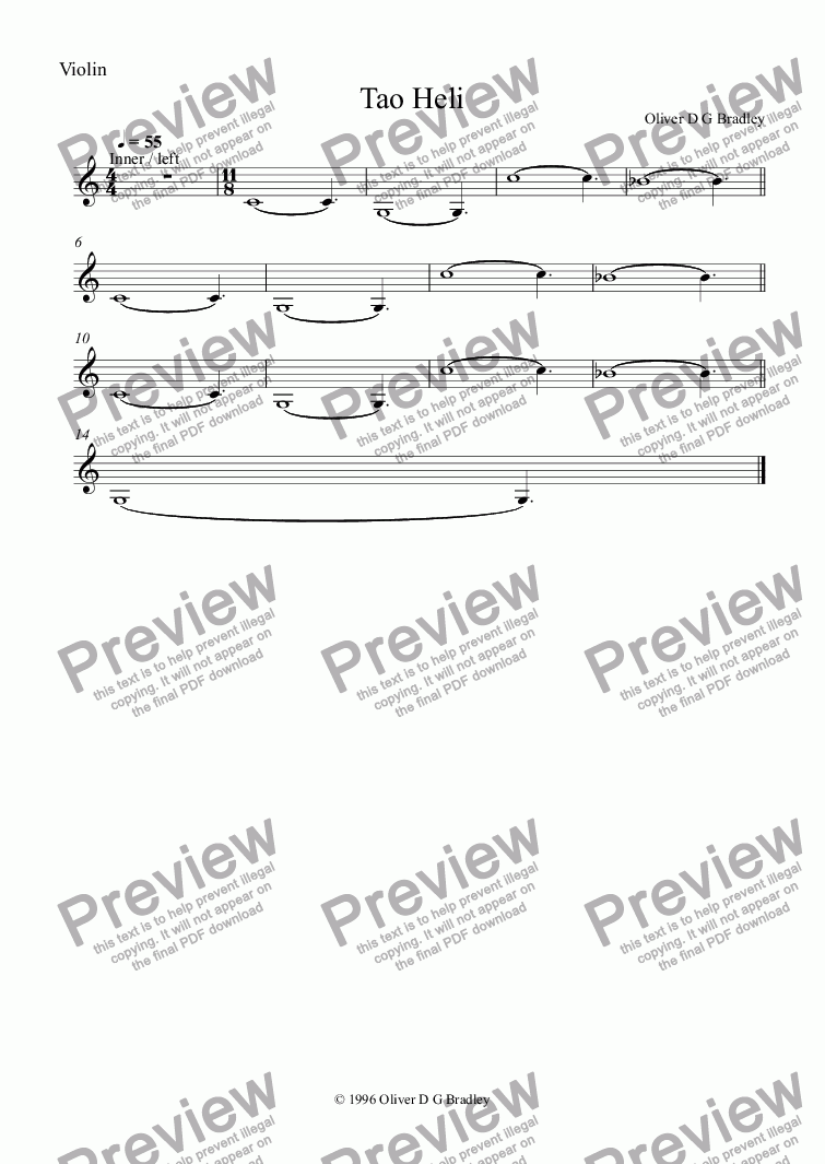 page one of the Violin part from Tao Heli