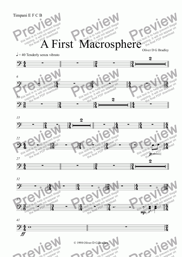 page one of the Timpani E F C B part from A First and Second Macrosphere