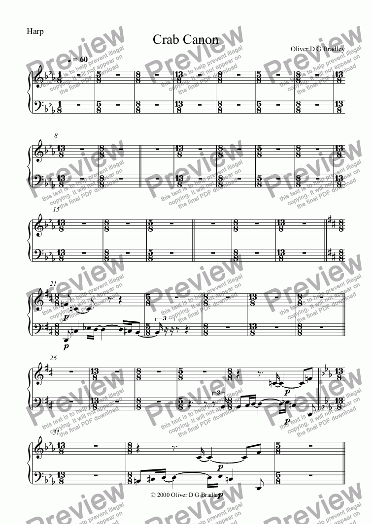 page one of the Harp part from Microsphere IIII, Crab Canon