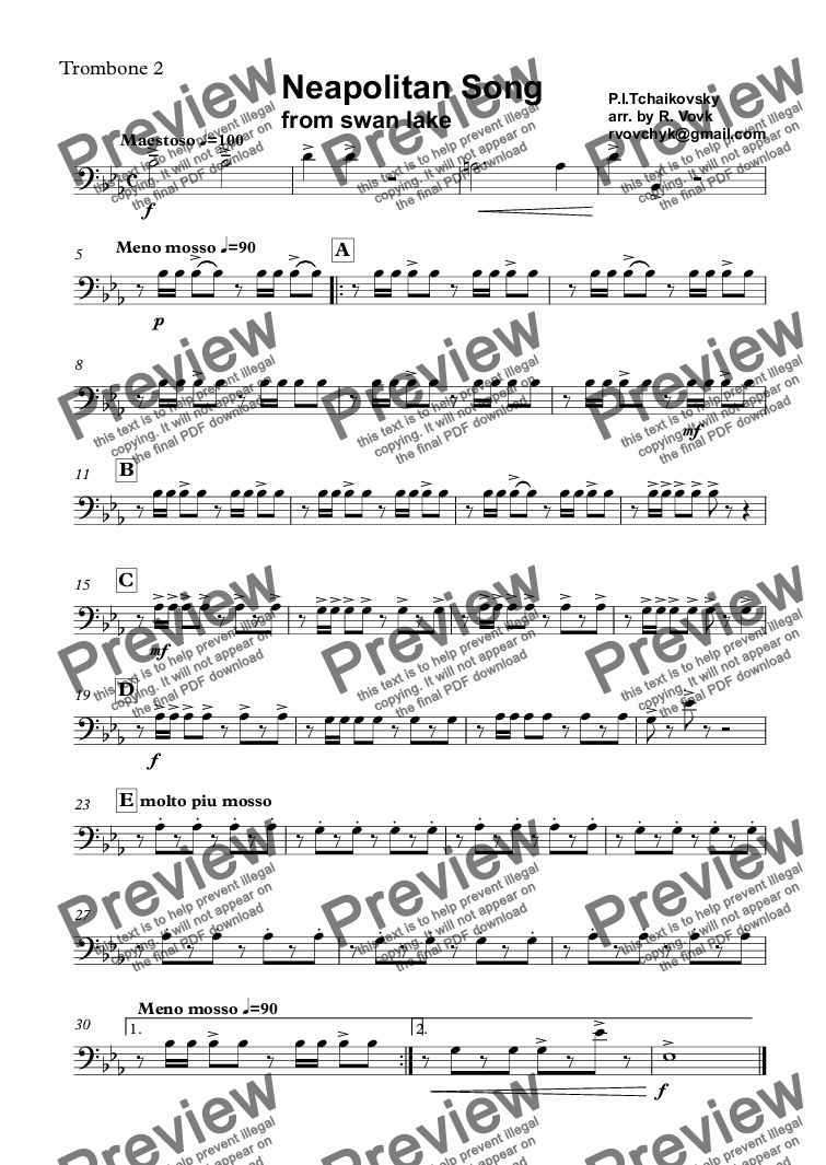 page one of the Trombone 2 part from Neapolitan Song from swan lake