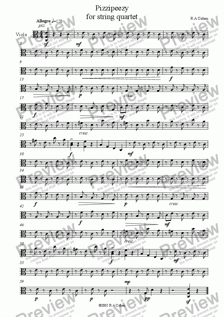 page one of the viola part from PIZZIPEEZY - for string quartet