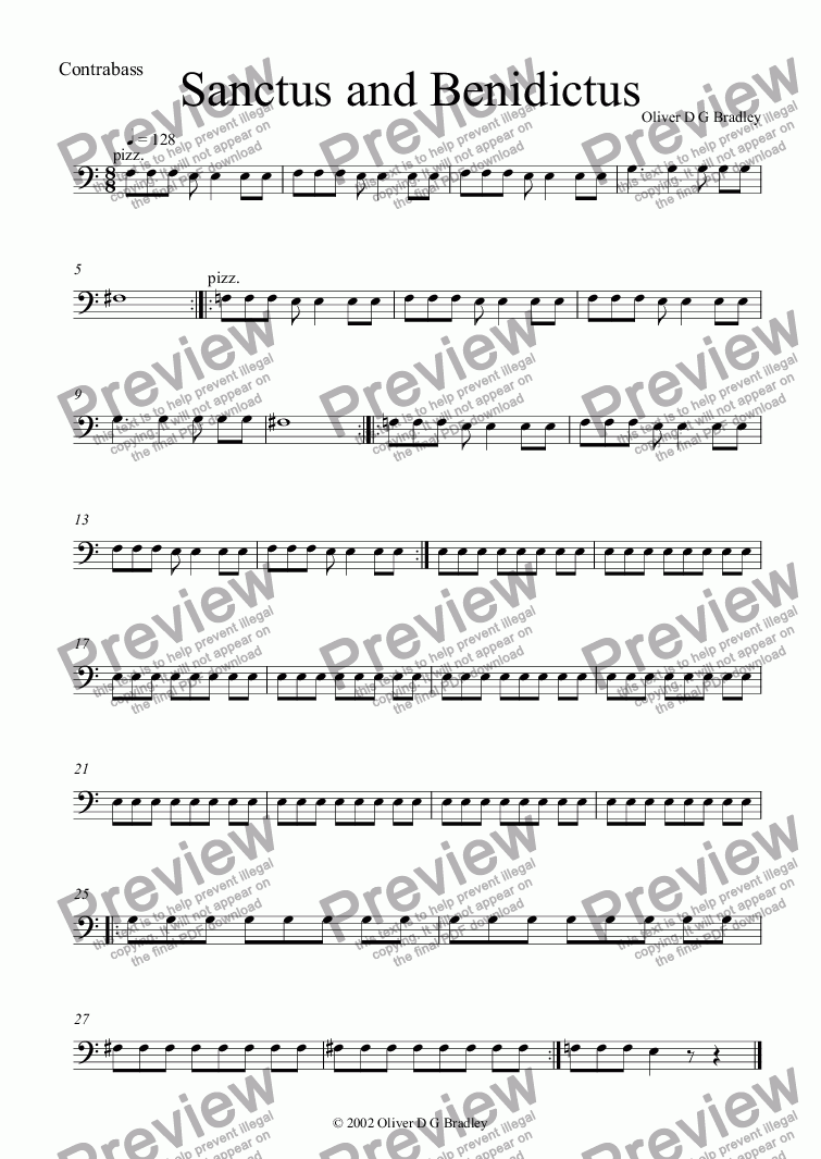 page one of the Contrabass part from Requiem (unfinished), II Sanctus and Benidictus