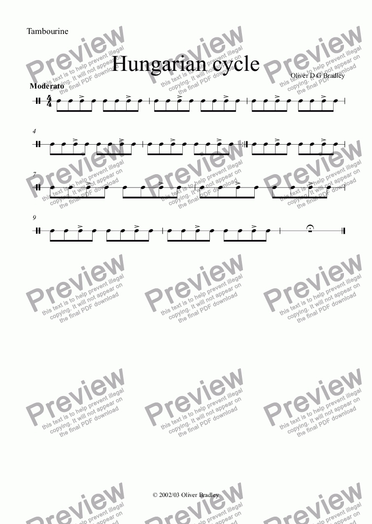 page one of the Tambourine part from Hungarian cycle