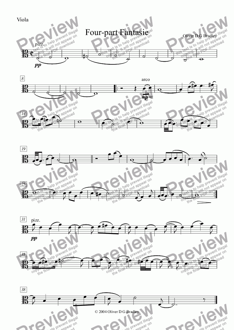 page one of the Viola part from Four-part Fantasie