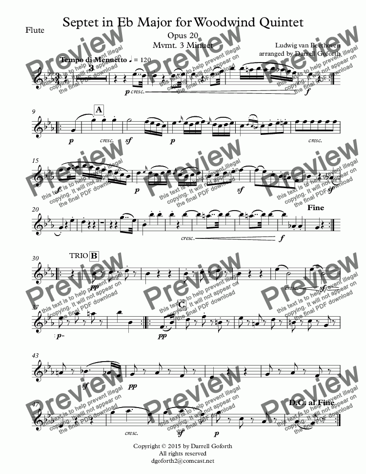 page one of the Flute part from Septet in Eb Major for Woodwind Quintet Opus 20 Mvmt. 3 Minuet