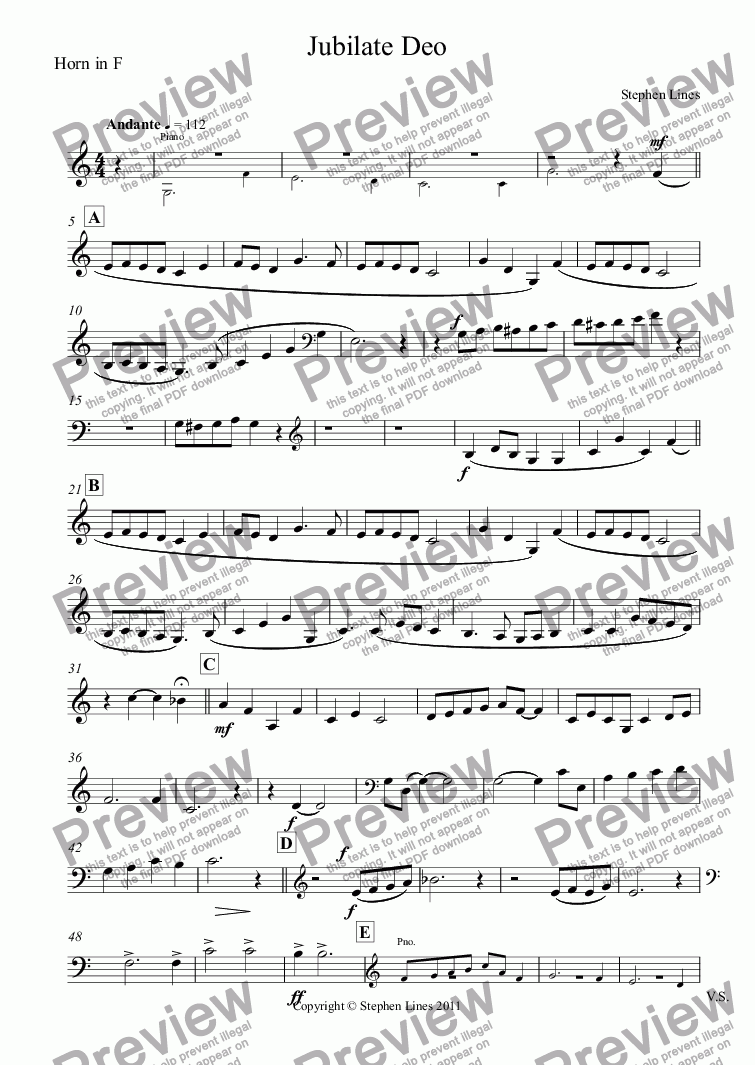 page one of the Horn in F part from Horn Quartet and Piano: Jubilate Deo