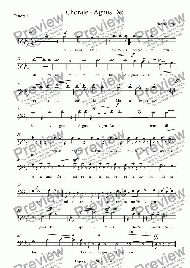 page one of the Tenors 1 part from 5 Voices, Piano & Optional Bb Trumpet: Chorale - Agnus Dei