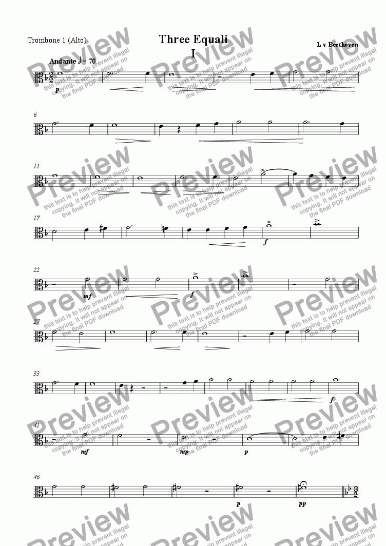 page one of the alto trombone part from Three Equali