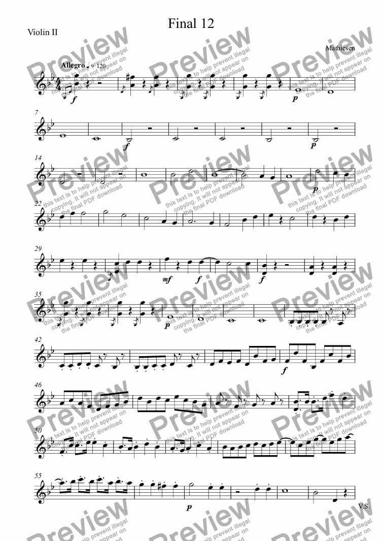 page one of the Violin II part from Final 12