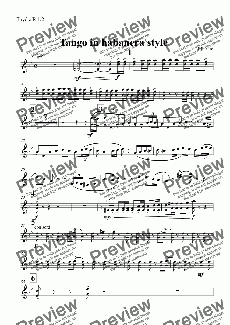 page one of the Трубы B 1,2 part from Tango in habanera style