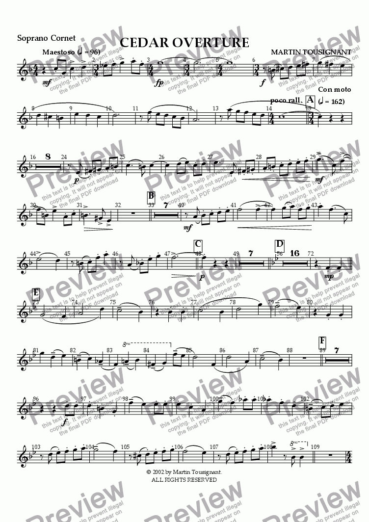 page one of the Soprano Cornet part from Cedar Overture