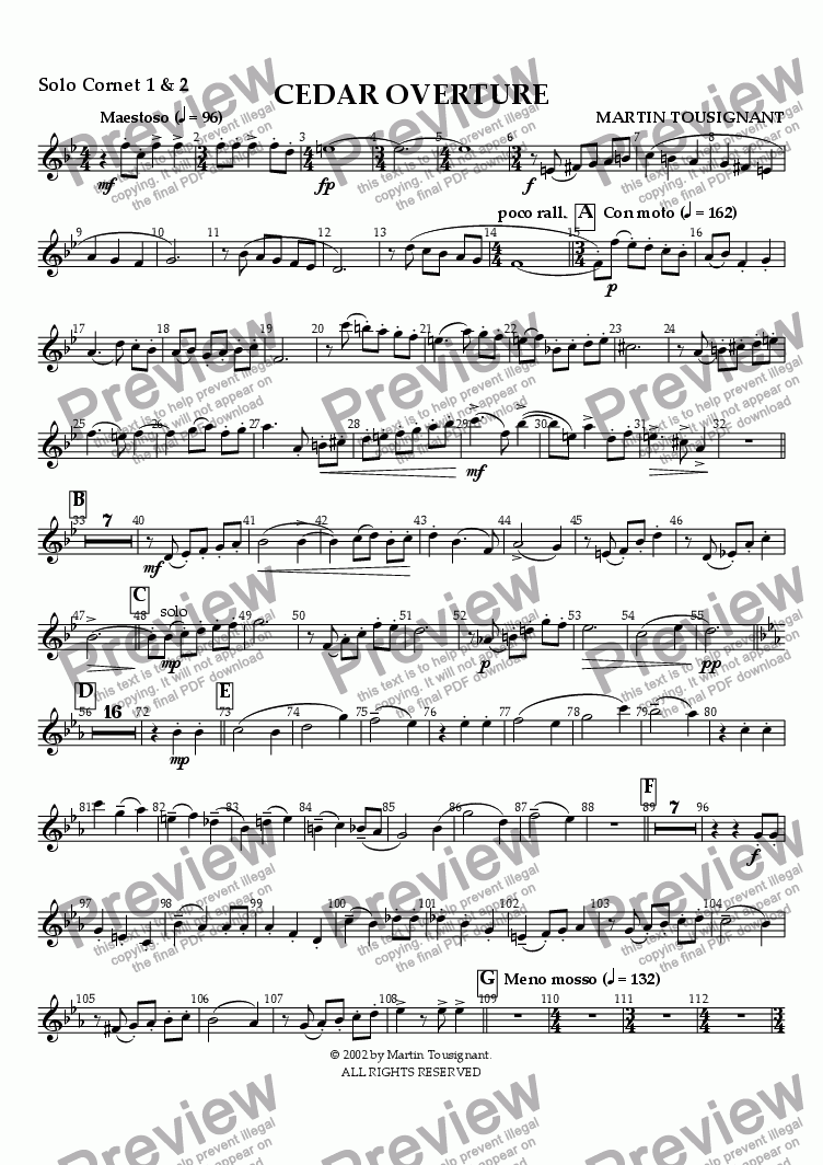 page one of the Solo Cornet A part from Cedar Overture