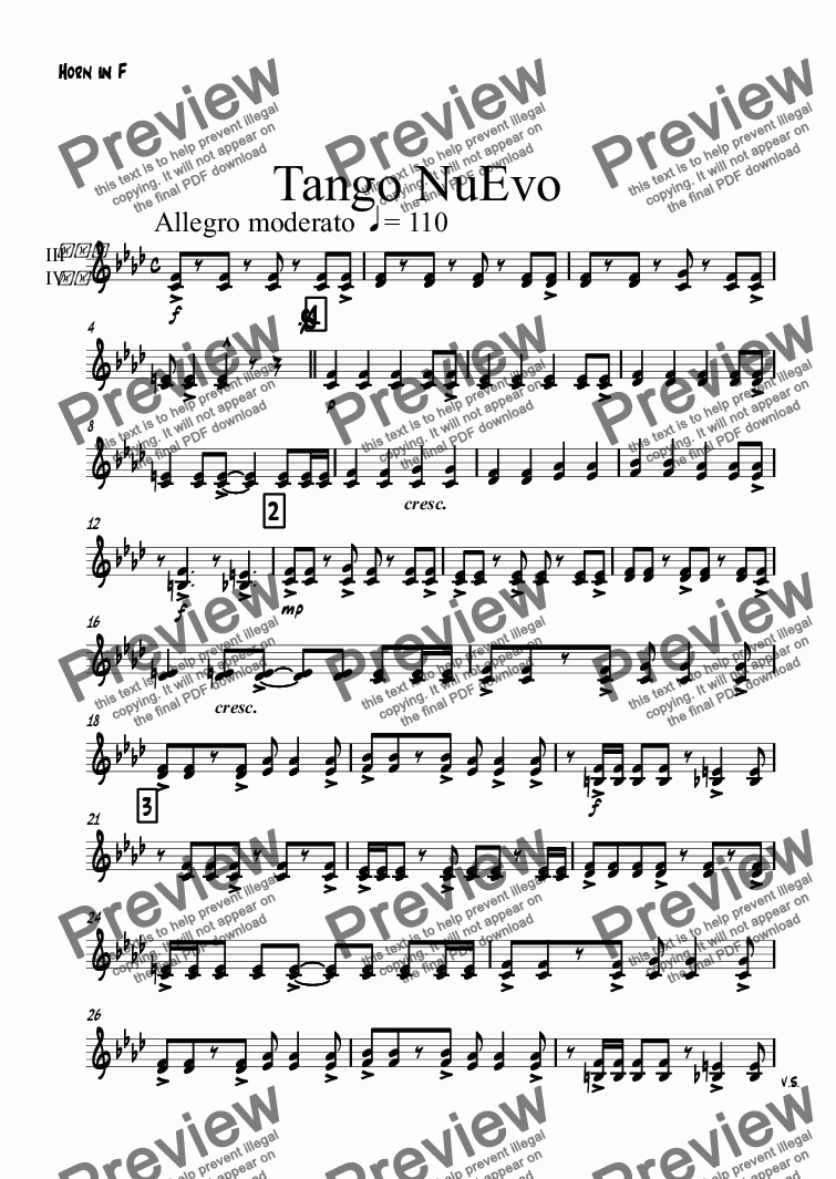 page one of the Horn in F part from Tango NuEvo