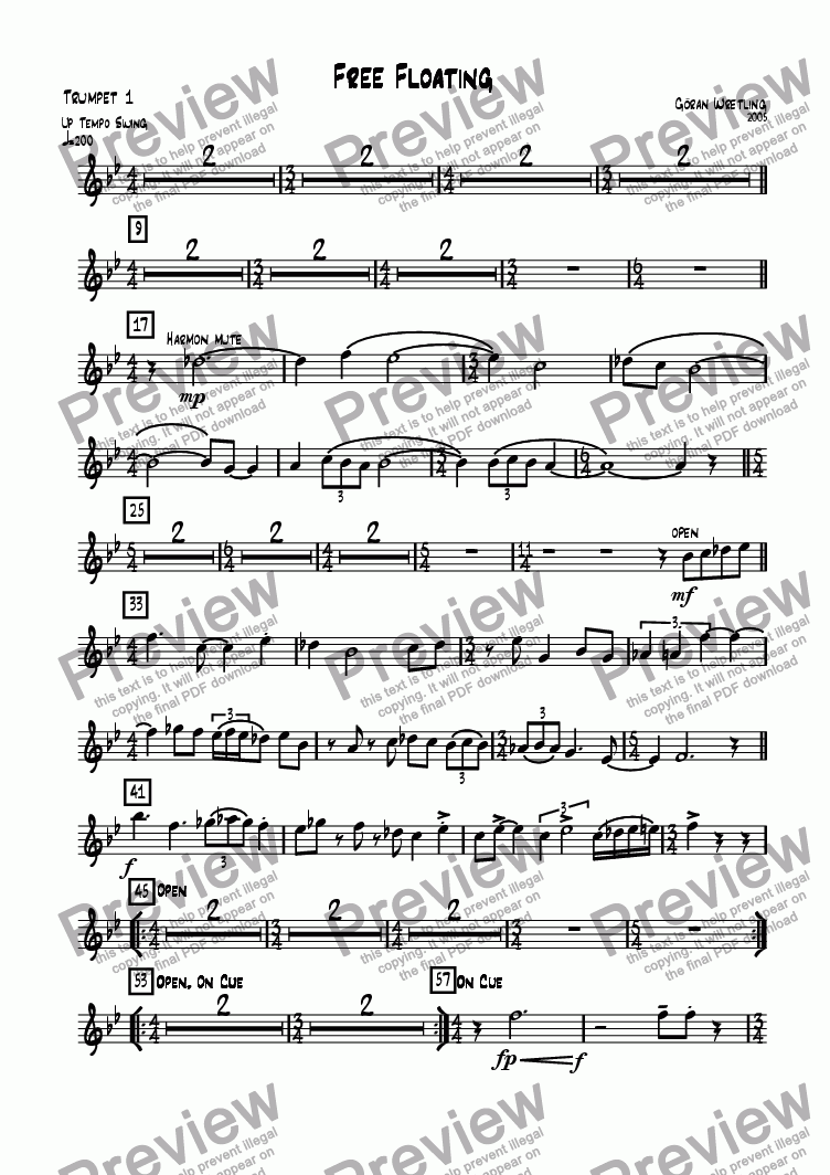 page one of the Trumpet 1 part from Free Floating