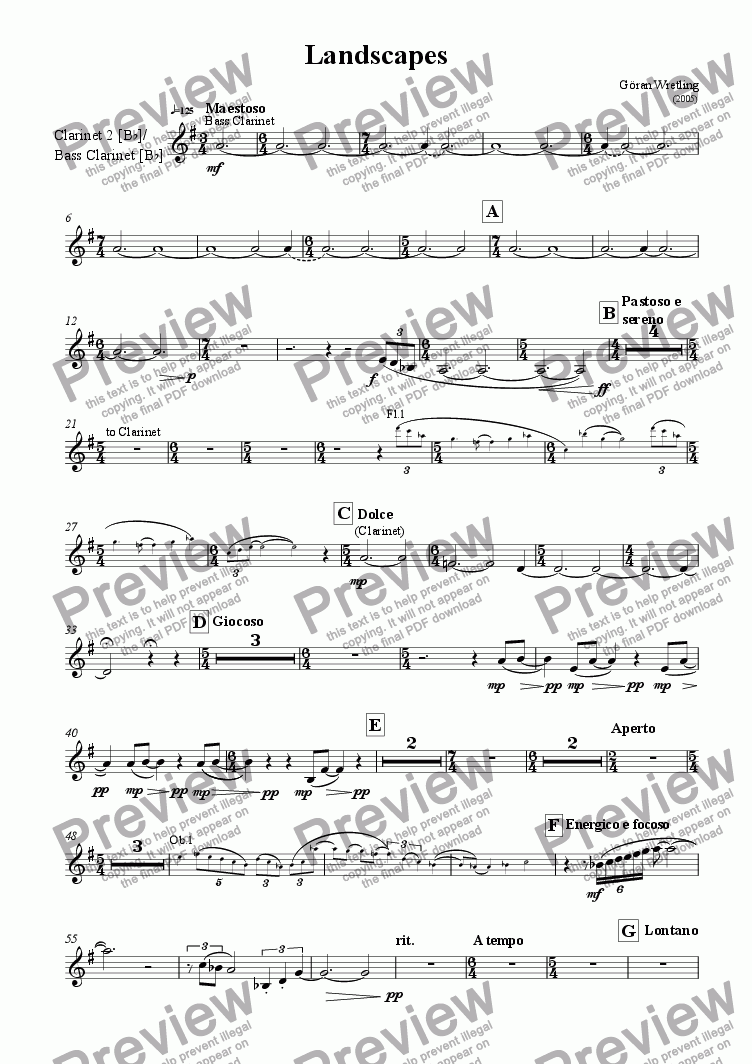 page one of the Clarinet 2 in Bb, Bass Clarinet part from Landscapes