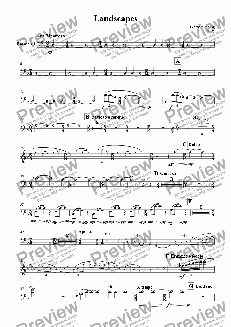 page one of the Bassoon 1 part from Landscapes