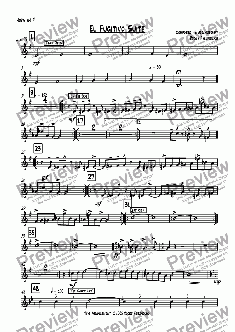 page one of the Horn in F part from El Fugitivo Suite (brass quintet)
