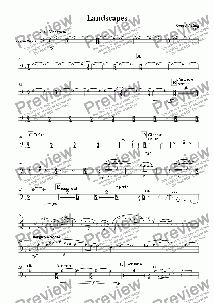 page one of the Trombone 2 part from Landscapes